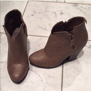 Rampage Brown Leather Booties with Block Heel